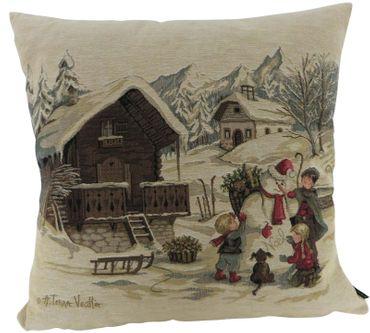 Zierkissen Winter Kinder Schneemann - Kissenbezug Gobelinkissen Kissen