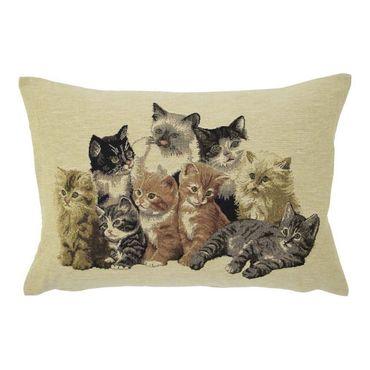 Gobelinkissen Katzen Familie - Zierkissenkissen 45x35 cm - Dekokissen  – Bild 3