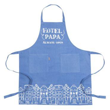 Kochschürze Hotel Papa - Schürze blau - Baumwollschürze mit 2 Taschen – Bild 1