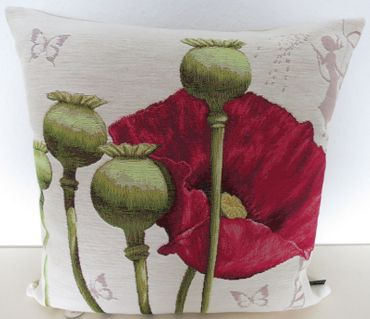 Zierkissen Kissenbezug Mohn - Gobelin-Kissen Blumen - ca 48 x 48 cm – Bild 4