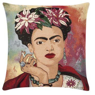 Zierkissen Frida Kahlo Porträt - Kissenbezug bunt gewebt 45 x 45 cm
