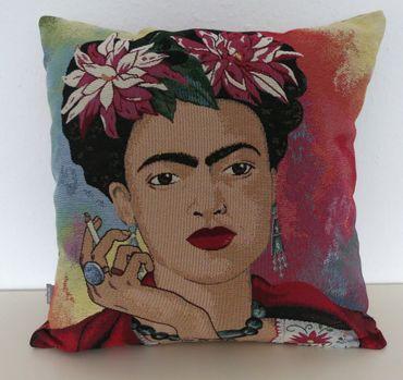Zierkissen Frida Kahlo Porträt - Kissenbezug bunt gewebt 45 x 45 cm – Bild 4