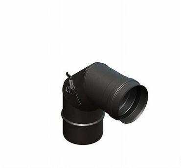 Pelletrohr Ø 80 mm Rauchrohrbogen 90° inkl. Reinigungsklappe Schwarz senotherm
