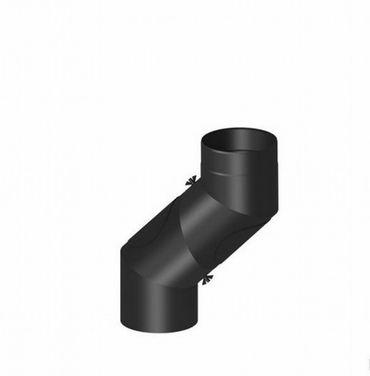 H&M Rauchrohr Ø 150mm Bogen verstellbar 0-90° 4tlg.mit Tür schwarz Kaminrohr
