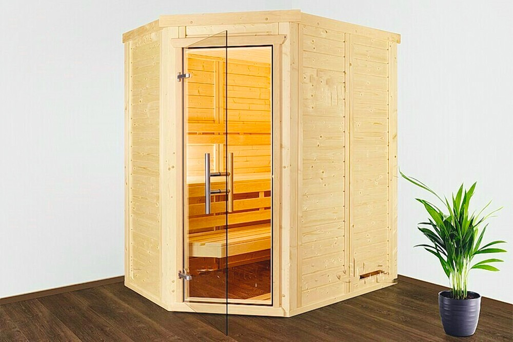 luxus massivholz mini sauna 166 x 130 x 200 cm polarfichte. Black Bedroom Furniture Sets. Home Design Ideas