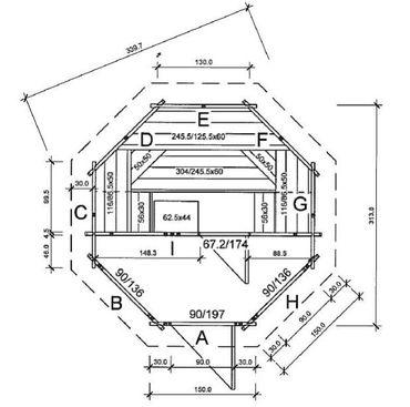 """8-Eck Aussen Blockhaus-Sauna """"Wannsee"""" 314 x 314 cm Typ2 Neu – Bild 5"""