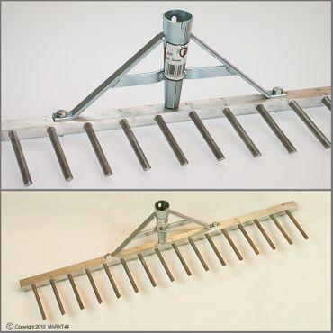 10 Polar 2320 Aluminium-Rechen 60 cm 16 Zinken 7 cm Land- Rasenrechen Bauern-Harke Alu