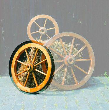 Deko-Wagenrad Ø 75 cm imprägniertes Holz Gartendekoration