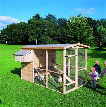 Holz-Hühnerstall mit Eiablage Auslaufgehege Sitzstangen Hühnerleiter