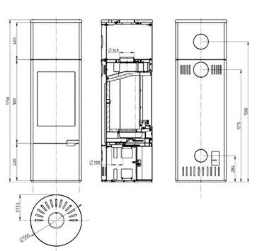 H&M Stahl-Kaminofen Evo XL Schwarz 7KW Rohrabgang oben / hinten Holzfach mit Tür – Bild 2