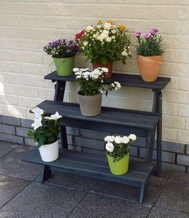 Holz-Blumentreppe Anja anthrazit Kiefernholz massiv imprägniert