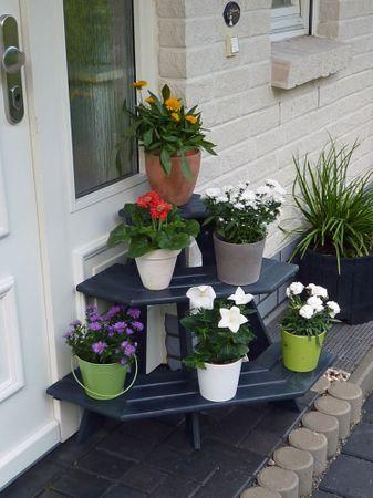 Eck-Blumentreppe Anja anthrazit Kiefernholz massiv imprägniert