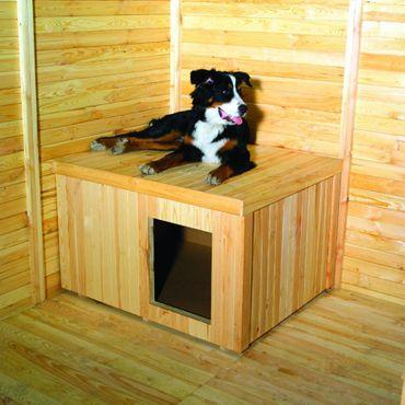 Hundehütte für Zwinger Kiefernholz naturbelassen 30 mm wärmeisoliert