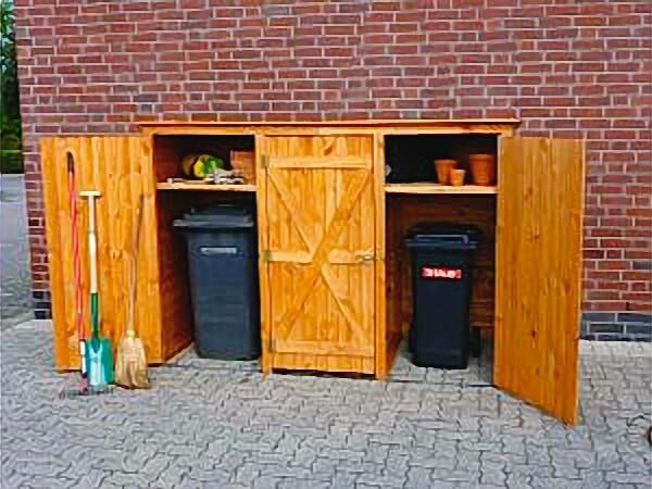Holz Mülltonnenschrank 3türig Geräteschrank Gartenschrank