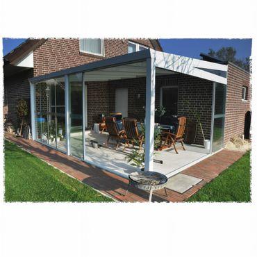 Aluminium Gartenzimmer Glasschiebewände & Polycarbonatdach versch. Ausführungen – Bild 1