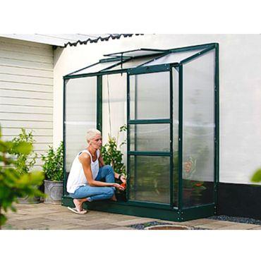 Ida 1300 Alu-Anlehngewächshaus grün HKP 4mm Balkon-Gewächshaus 1,3 m² inkl. Fundament  mit 1 Dachfenster