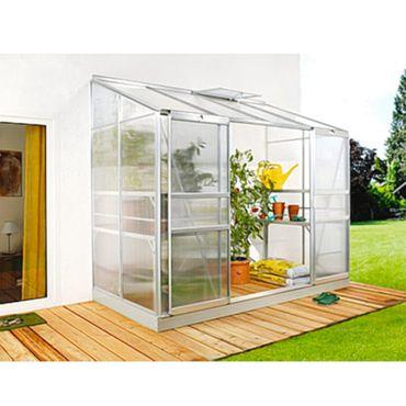 Ida 3300 Alu-Anlehngewächshaus HKP 4 mm Balkon-Gewächshaus 3,3 m² mit Fundament mit 1 Dachfenster