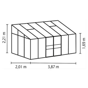 Ida 7800 Alu-Anlehngewächshaus HKP 4 mm Balkon-Gewächshaus 7,8 m² incl. 2 Dachfenstern und Stahlfundament – Bild 2