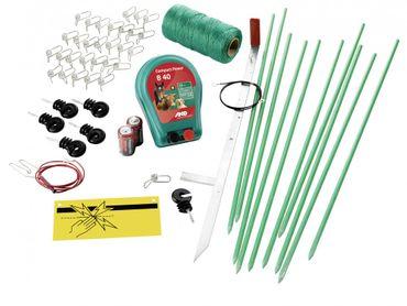 Weidezaun Hobbyset mit Batteriegerät B40 mit Batterien Hundezaun Elektrozaun