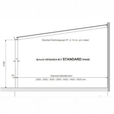 Terrassen Überdachung Aluminium 500 x 350 cm mit Polycarbonat Stegplatten 16 mm  – Bild 2