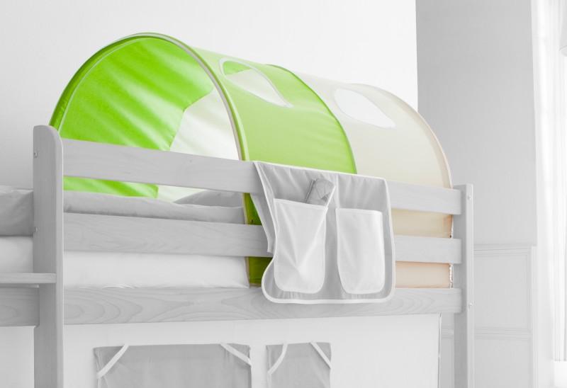 Tunnel grün / beige 100% Baumwolle für Hochbett