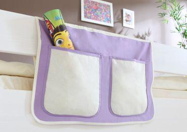 Bett-Tasche lila / weiß 100% Baumwolle für Hochbett