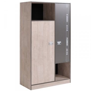 Kleiderschrank Fabric Parisot 2Grau 2 Türen B 101 cm
