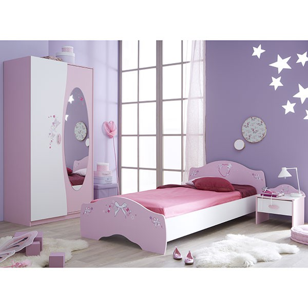 kinderzimmer ava 3 teilig rosa wei kinder jugendzimmer. Black Bedroom Furniture Sets. Home Design Ideas