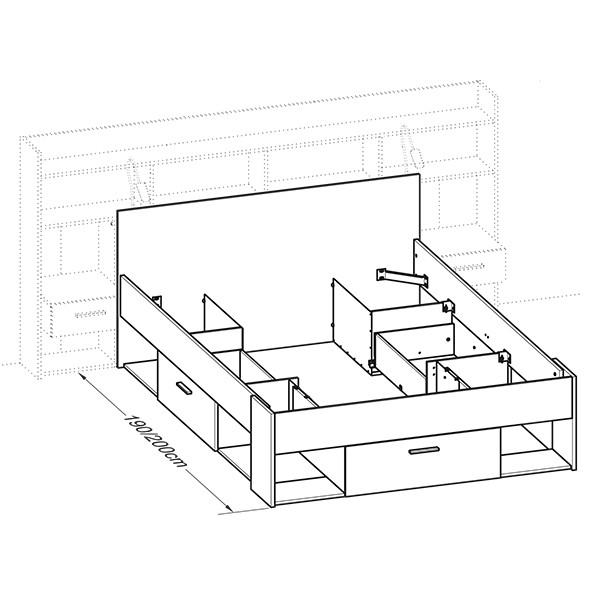Funktionsbett Fabio inkl Regalwand + Beleuchtung 140*200 cm Weiß