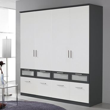 kleiderschrank ryan wei grau 4 t ren b 181 cm kleiderschr nke. Black Bedroom Furniture Sets. Home Design Ideas