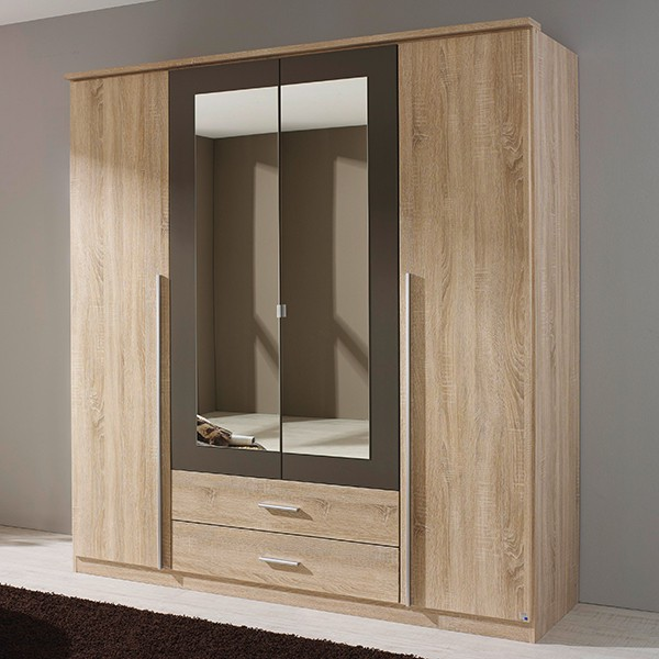 kleiderschrank basti grau 4 t ren b 181 cm kleiderschr nke. Black Bedroom Furniture Sets. Home Design Ideas