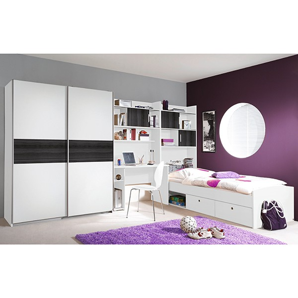 kinderzimmer tino 4 teilig wei grau b 366 cm kinder jugendzimmer. Black Bedroom Furniture Sets. Home Design Ideas