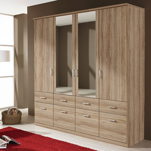 kleiderschrank dilan 14 grau 4 t ren b 181 cm kleiderschr nke. Black Bedroom Furniture Sets. Home Design Ideas