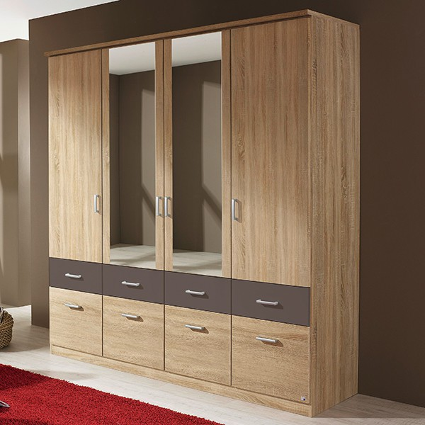 kleiderschrank joris 24 grau 4 t ren b 181 cm kleiderschr nke. Black Bedroom Furniture Sets. Home Design Ideas