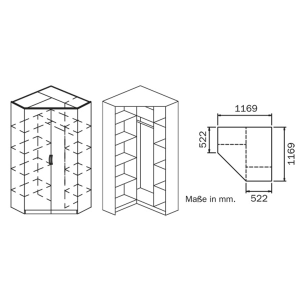 Eckkleiderschrank Dilan Weiß 2 Türen 117 x 117 cm mit Aufsatz