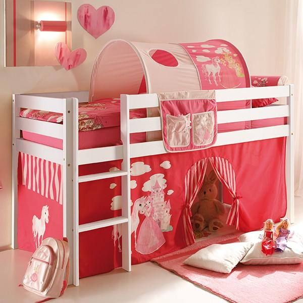 Tunnel + Bett-Tasche Prinzessin 100% Baumwolle für Hochbett