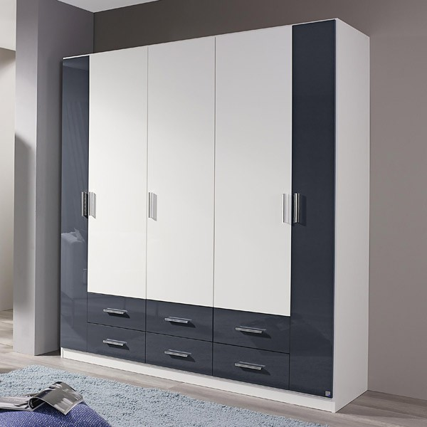 kleiderschrank benno hochglanz wei grau 5 t ren b 181 cm kleiderschr nke. Black Bedroom Furniture Sets. Home Design Ideas