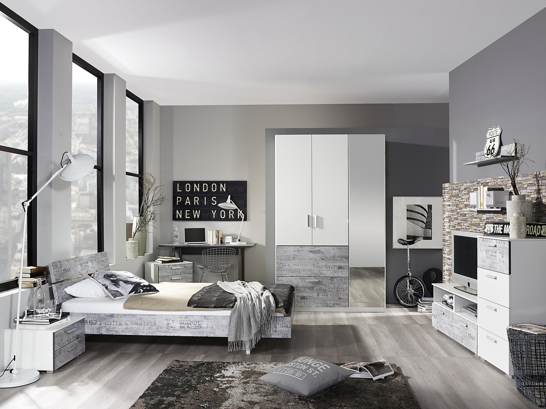 kleiderschrank artur wei grau 3 t ren b 136 cm kleiderschr nke. Black Bedroom Furniture Sets. Home Design Ideas