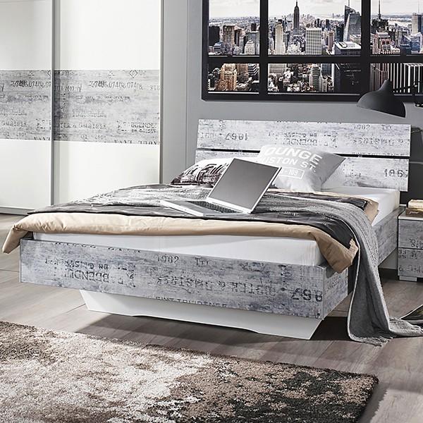 Jugendbett Artur 140*200 cm Weiß / Grau
