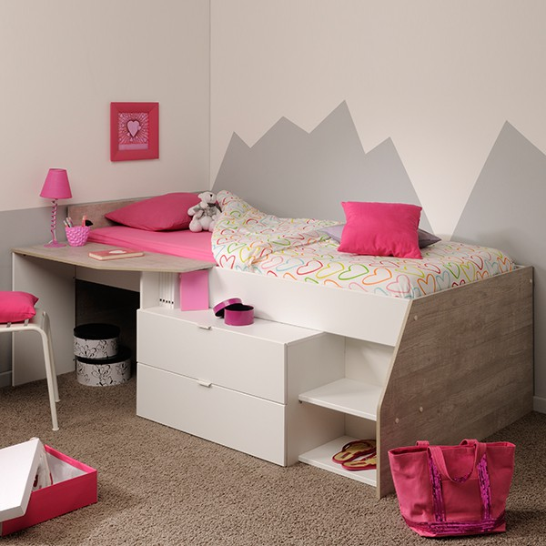 Hochbett Milky Parisot Weiß / Grau inklusive Schreibtisch + Kommode + Ablagefach