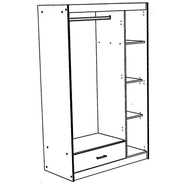 kleiderschrank charly parisot grau wei 3 t ren b 112 cm kleiderschr nke. Black Bedroom Furniture Sets. Home Design Ideas