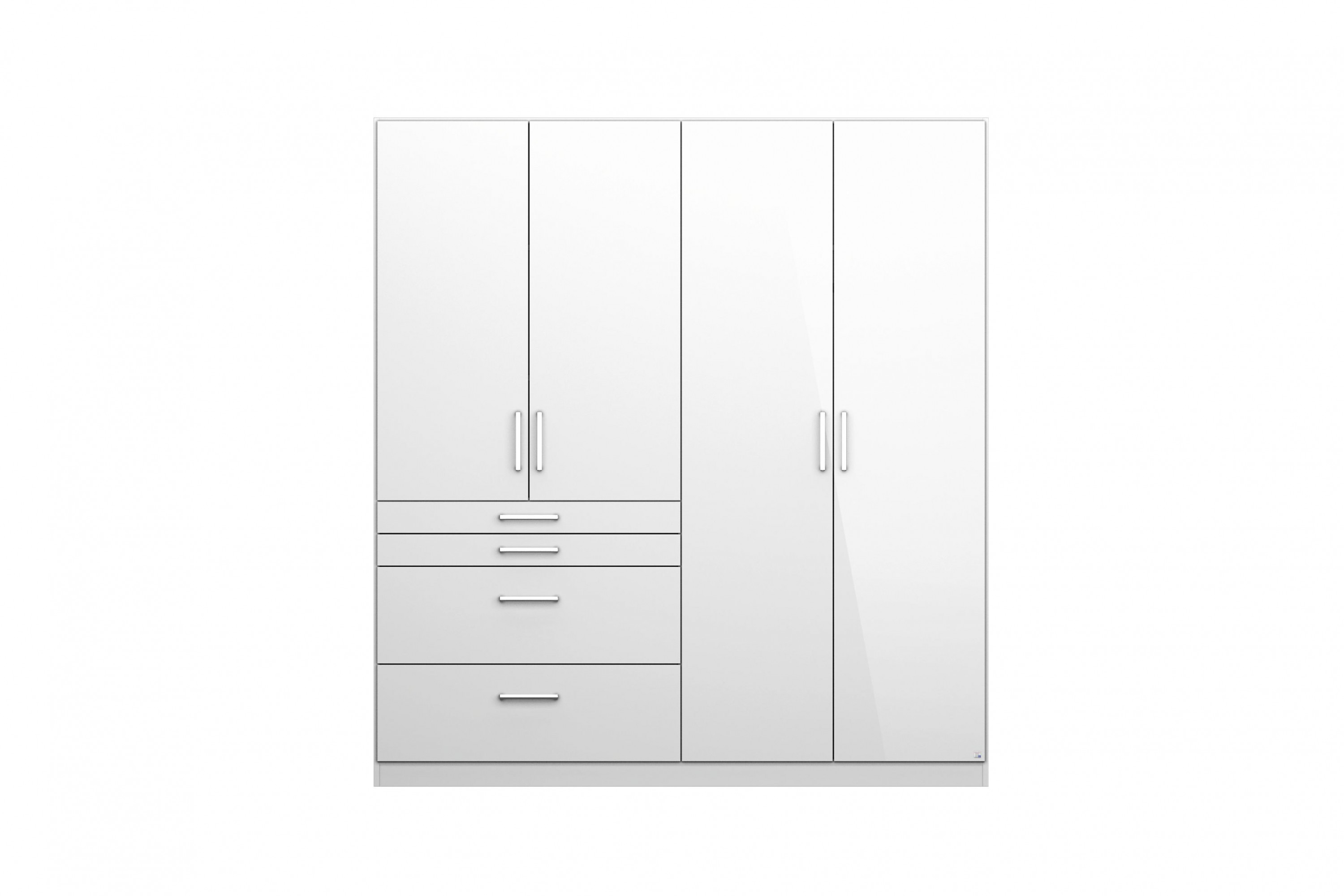 kleiderschrank lauri 4 wei hochglanz 4 t ren b 181 cm kleiderschr nke. Black Bedroom Furniture Sets. Home Design Ideas
