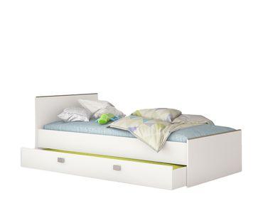 Jugendbett Taira 90*200 cm Weiß / Beige inkl. Bettkasten