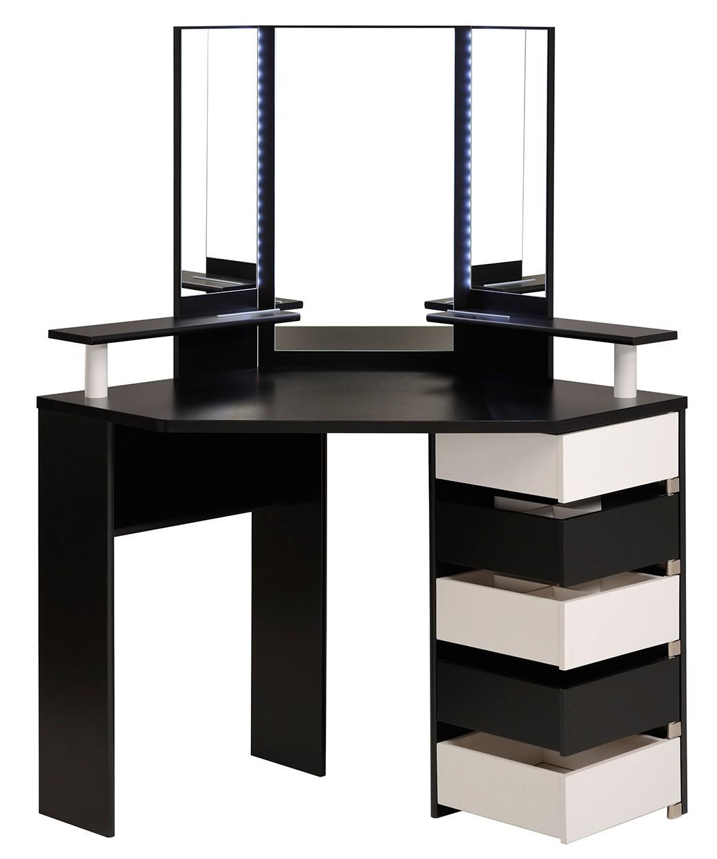 Eck-Schminktisch Volage Parisot schwarz / weiß inklusive LED Beleuchtung