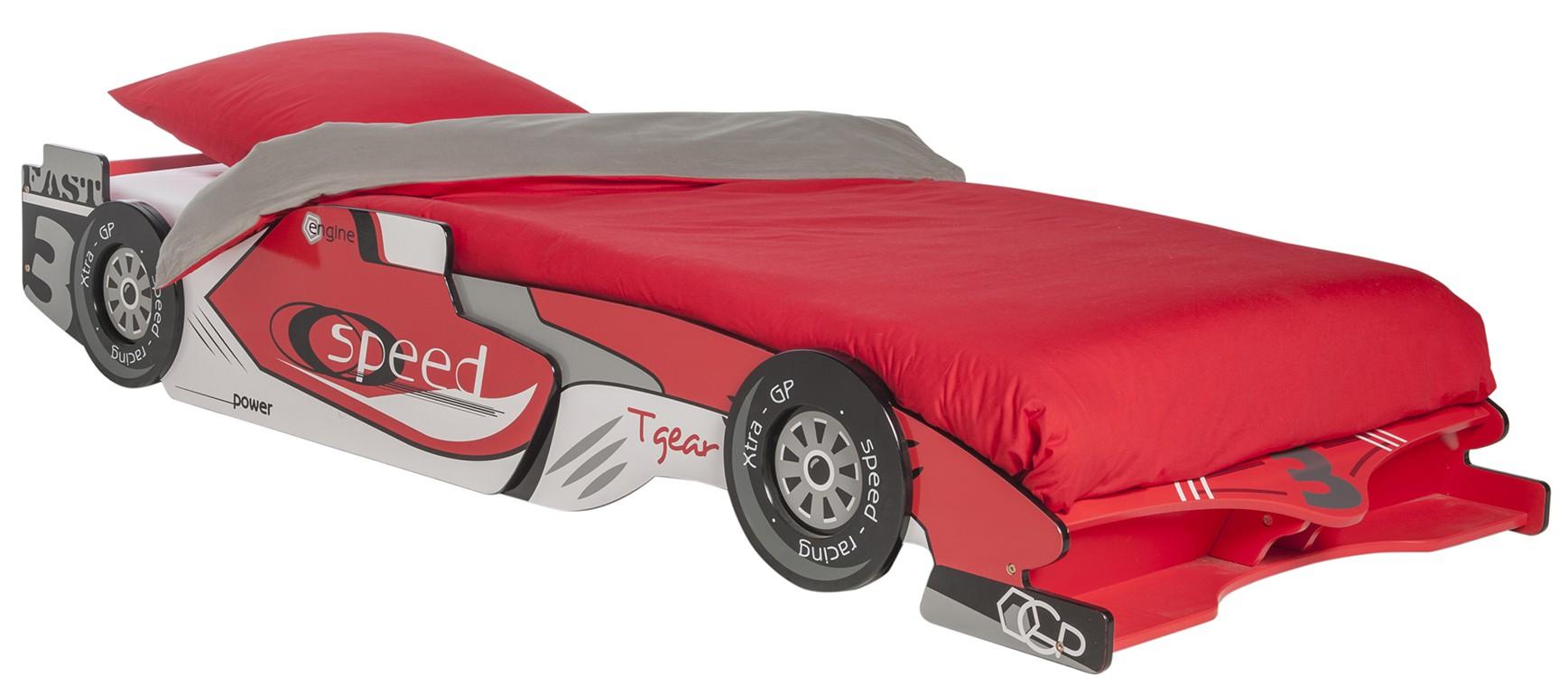 Autobett Red rot / weiß