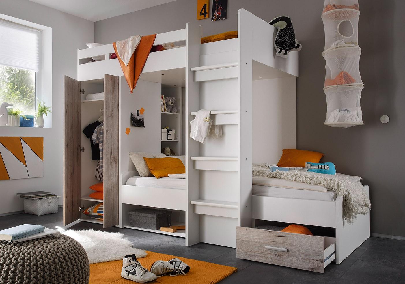 Etagenbett Nils weiß / grau inklusive Kleiderschrank + Schubkasten + Regale
