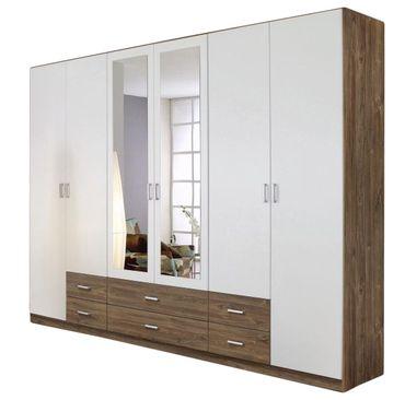 Kleiderschrank Ina 1 braun / weiß 6 Türen B 271 cm / H 210 cm