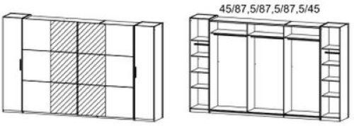 Dreh-/Schwebetürenschrank Nico grau 4 Türen B 355 cm