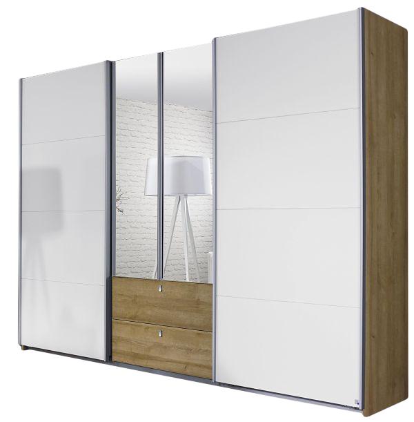 Dreh-/Schwebetürenschrank Luisa braun / weiß 4 Türen B 271 cm