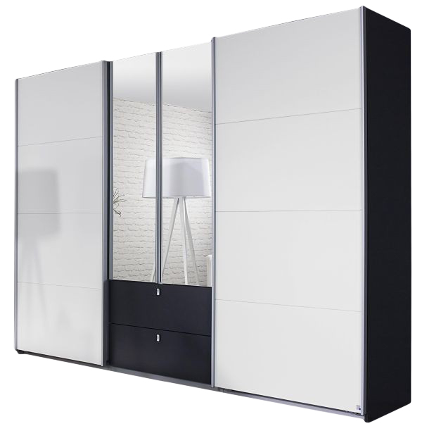 Dreh-/Schwebetürenschrank Luisa grau / weiß 4 Türen B 271 cm